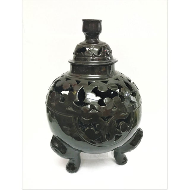 Moroccan Black Handcrafted Ceramic Vase with Lid - Image 2 of 4