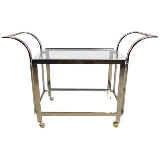 Stylish Mid Century Modern Brass Serving Cart For Sale