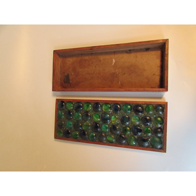 Mid-Century Glass Tiled Wood Box - Image 4 of 10