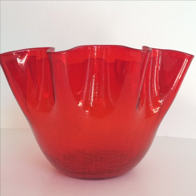 Vintage Red Blenko Crackle Glass Vase - Image 11 of 11