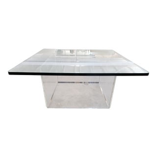 1970s Mid-Century Lucite and Glass Coffee Table For Sale