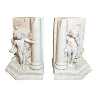"1980s Art Nouveau ""Hide and Seek"" Cherub Stone Bookends - a Pair"