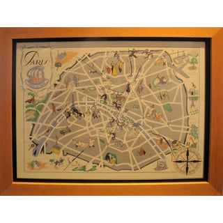 1946 Original Map of Paris - Fluctuat Nec Mergitur (Framed) For Sale
