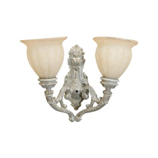 Two Arm Cast Iron Wall Lamp