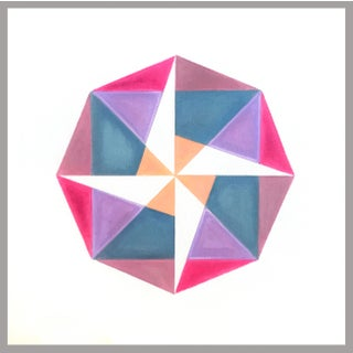 """Fuchsia to Coral"" Pink Geometric Painting by Natasha Mistry For Sale"