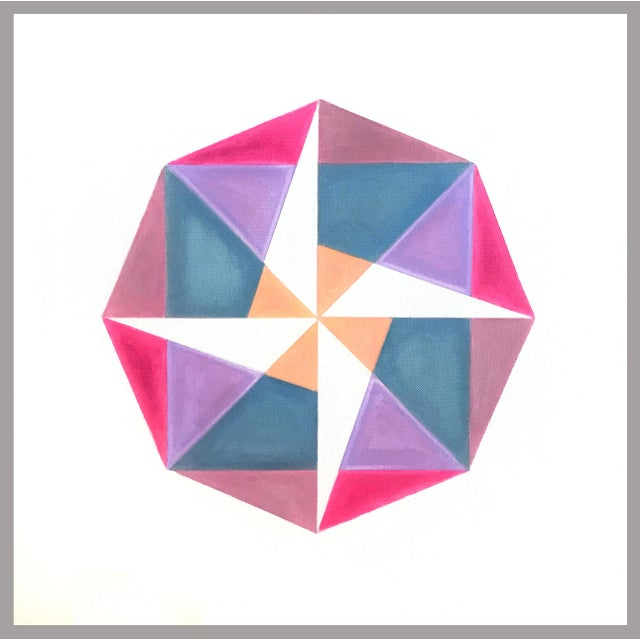 """""""Fuchsia to Coral"""" Pink Geometric Painting by Natasha Mistry For Sale"""
