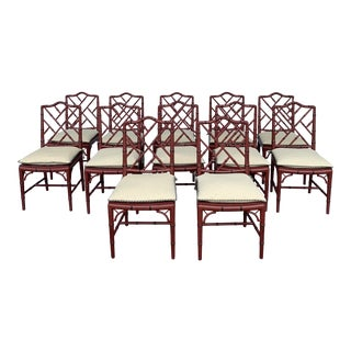 Vintage Faux Bamboo Chippendale Dining Chairs - Set of 12 For Sale
