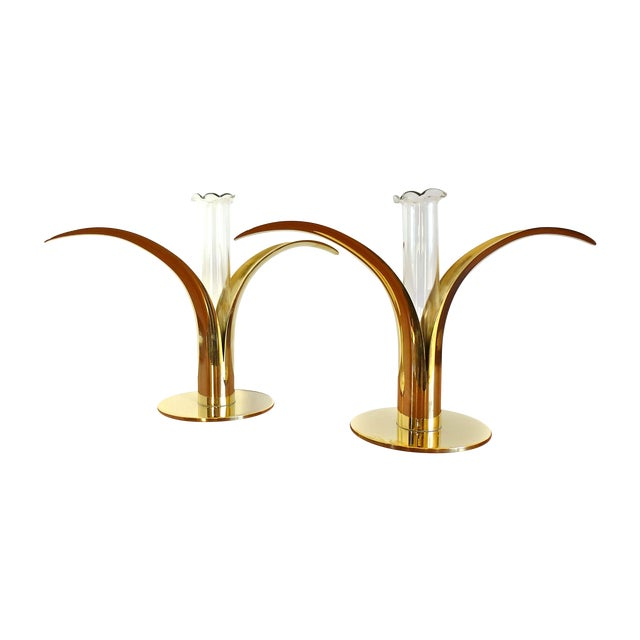 Ystad Metall Brass Lily Candle Holders/Vases - Image 1 of 8
