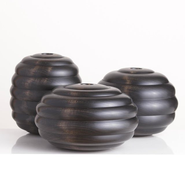 Ebonized Turned Cherry Wood 'Hive' Vessel No. 1 For Sale - Image 4 of 5