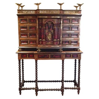 20th Century Spanish Baroque Style Vargueno Cabinet on Stand For Sale