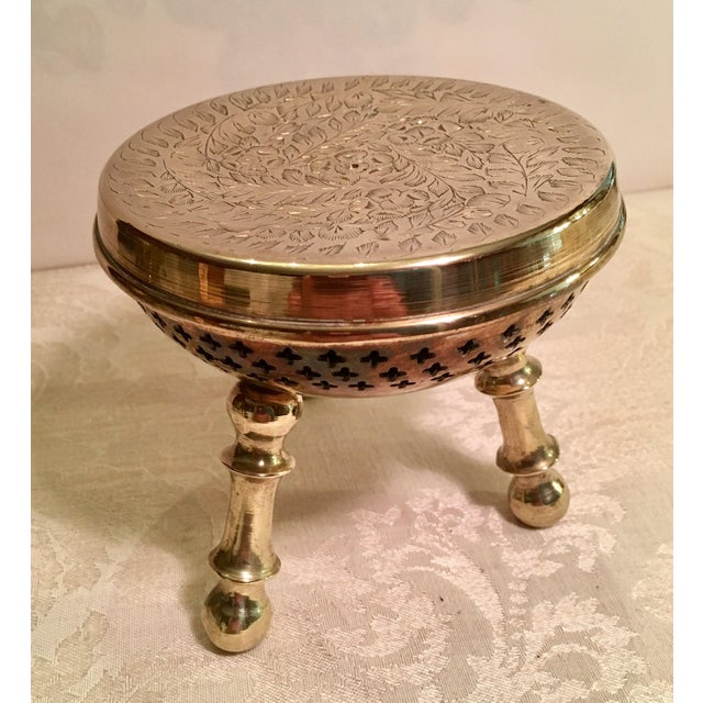 Moroccan Brass Warming Stool For Sale In Dallas - Image 6 of 8