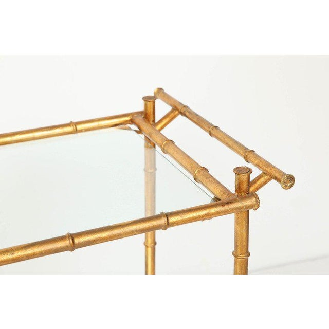 Italian Gilt Iron Stylized Bamboo Serving / Bar Cart For Sale - Image 4 of 11