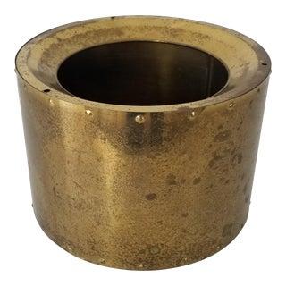 Mid-Century Round Brass Planter . For Sale