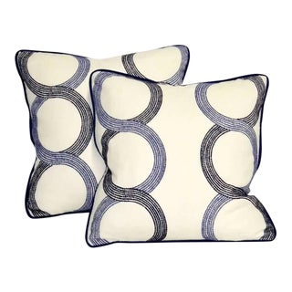 Navy and Ivory Embroidered Pillows With Down Inserts - a Pair For Sale