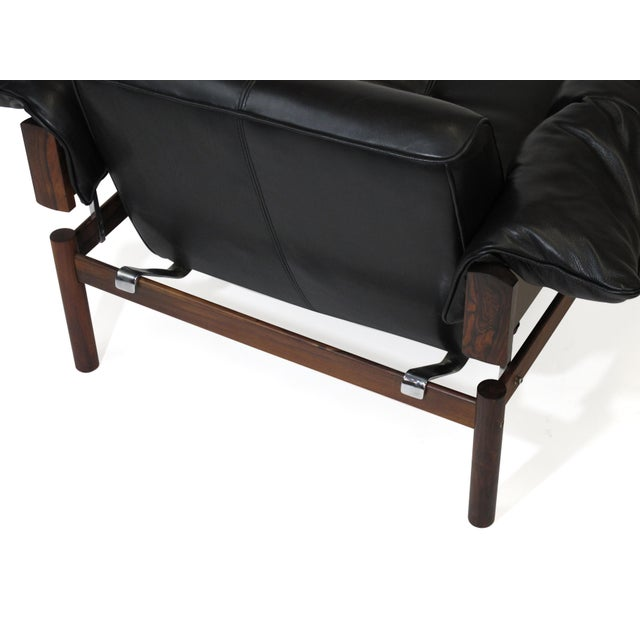 Wood Percival Lafer Brazilian Modernist Rosewood Sofa and Chair in Black Leather For Sale - Image 7 of 13