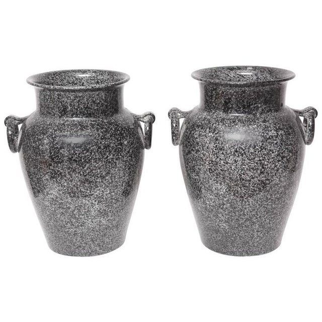 Mid-Century Glazed American Black and Gray Pottery Urns Planters - a Pair For Sale - Image 9 of 9