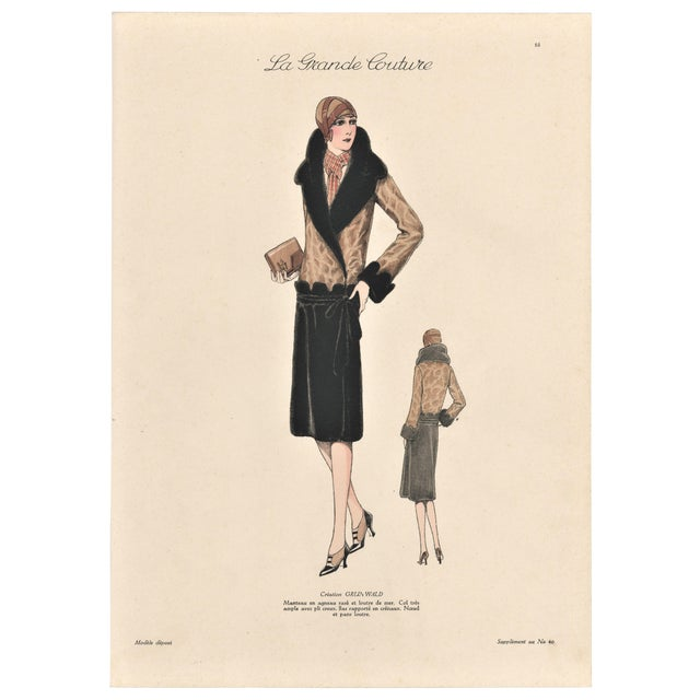 1920s French Art Deco Couture Fashion Print For Sale