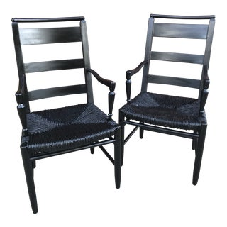 Vintage Baker Furniture Company Ebonized Accentuated Highback Rush Arm Chairs - a Pair For Sale