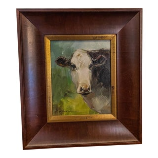 """""""Moo"""" Contemporary Cow Portrait Oil Painting, Framed For Sale"""