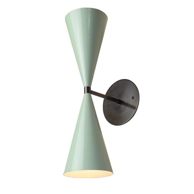 Not Yet Made - Made To Order Tuxedo Wall Sconce in Oil-Rubbed Bronze & Mint Green Enamel, Blueprint Lighting For Sale - Image 5 of 5
