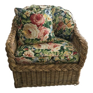 Classic East Coast Wicker Lounge Chair For Sale
