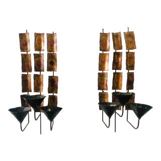 1970s Brutalist Mid Century Wall Sconces-A Pair For Sale