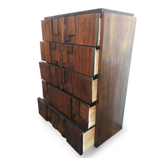 Paul Evans for Lane Brutalist Tallboy Dresser - Image 3 of 3