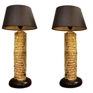 Mid-Century Modern Gold Thick Murano Glass Table Lamps - a Pair For Sale