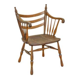 Unusual Antique Tiger Oak Arm Chair