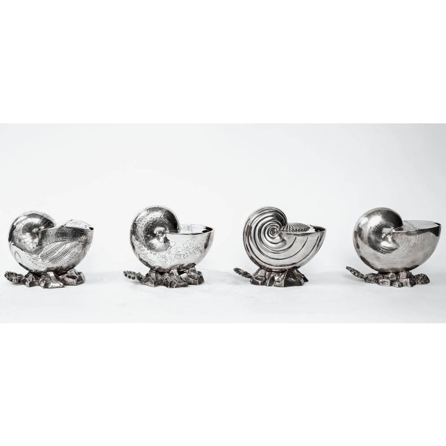 Late 19th Century Vintage Victorian Silver Shell Spoon Warmers- Set of 4 For Sale - Image 10 of 10