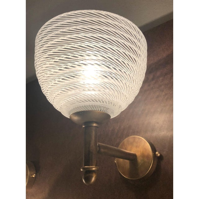 1960s Vintage Barovier E Toso Ribbed Murano Glass Sconces - a Pair For Sale - Image 5 of 10
