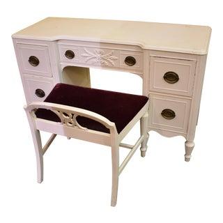 Huntley Vintage White Painted Bedroom Vanity Desk, Mirror & Chair - Set of 3