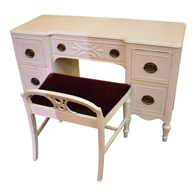Huntley Vintage White Painted Bedroom Vanity Desk, Mirror & Chair ...