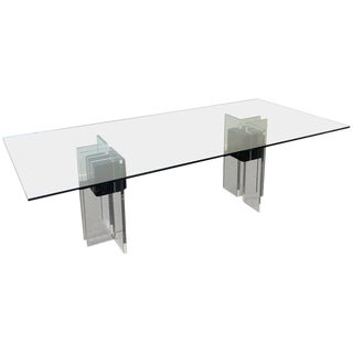 Italian Black Marble and Lucite Dining Table For Sale