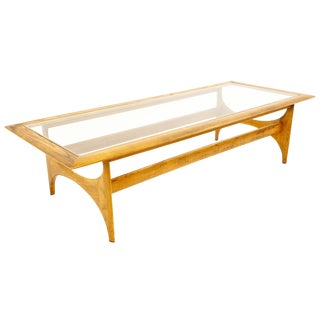 Mid Century Modern Adrian Pearsall for Lane Walnut & Glass Sculptural Coffee Table For Sale