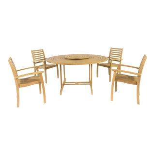 Royal 5-Piece Teak Round Table with Lazy Susan Outdoor Dining Set For Sale