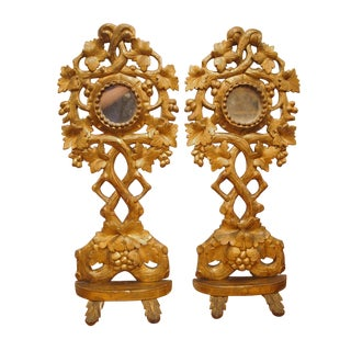 Pair of Tall Giltwood Reliquaries With Mirrors For Sale
