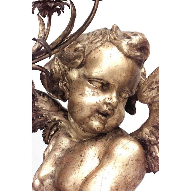 Giltwood Pair of French Louis XV Style, 19th Century Gilt Cupid Torchiere For Sale - Image 7 of 8