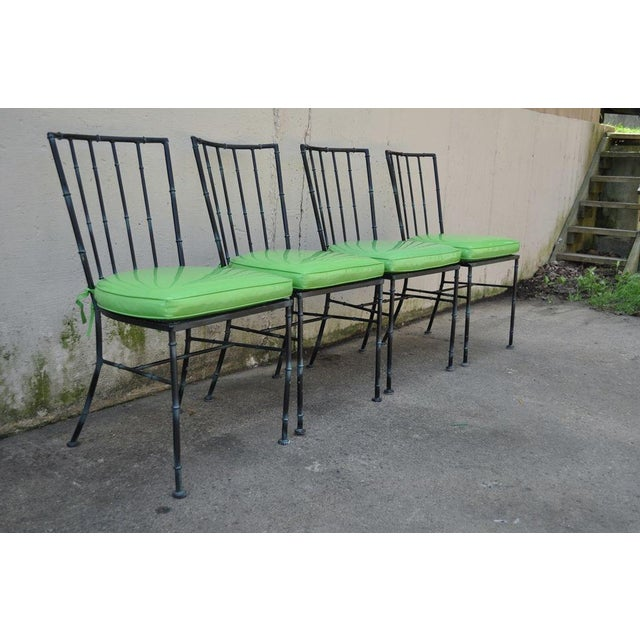 4 Vintage Mid Century Modern Hollywood Regency Metal Faux Bamboo Dining Chairs - Image 3 of 11
