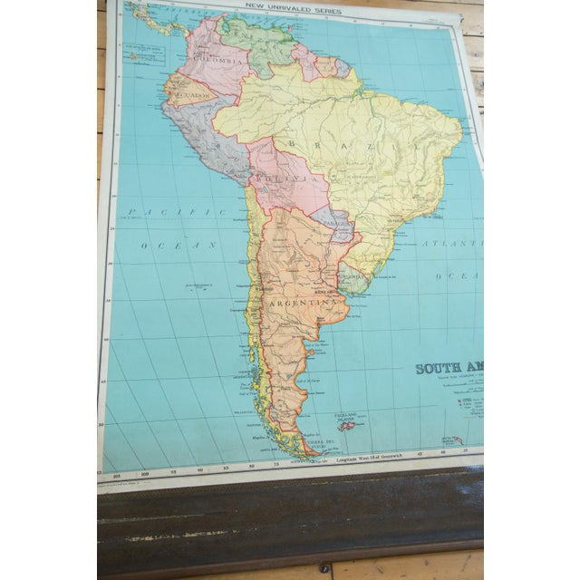 Antique Nystrom Pull Down Map Of South America Chairish