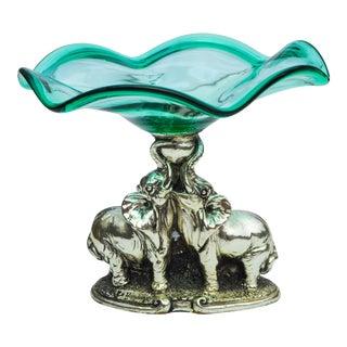 Crystal Centerpiece W/ Silver Elephants For Sale