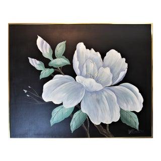 """Vintage Oversized """"Magnolia Flower"""" Framed Oil Painting by Lee Reynolds For Sale"""