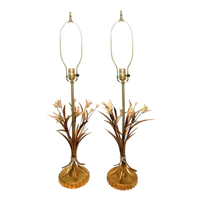 Vintage Brass Tole Style Table Lamps- Pair For Sale