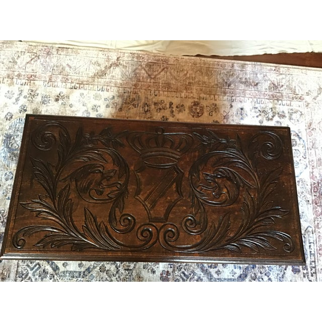 Wood Late 19th Century Antique Brown Monks Bench For Sale - Image 7 of 13
