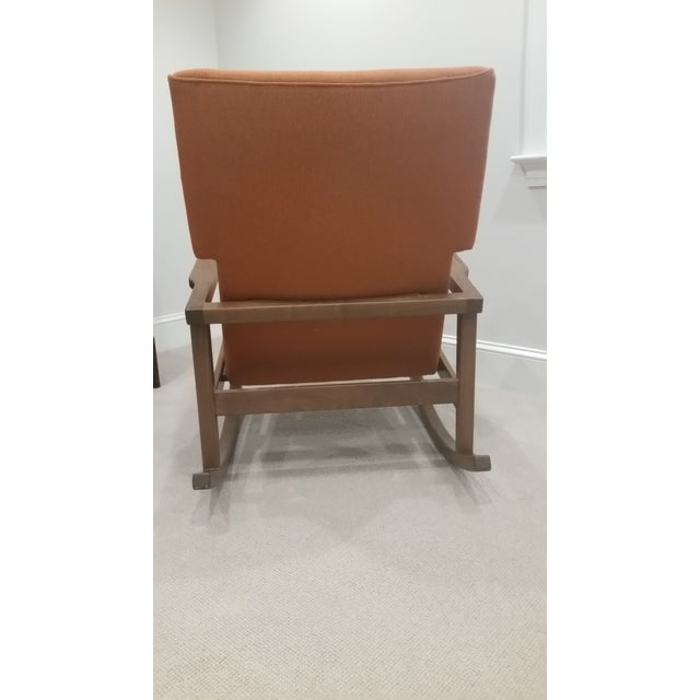 Contemporary DWR Jens Risom Burnt Orange Rocking Chair For Sale - Image 3 of 4