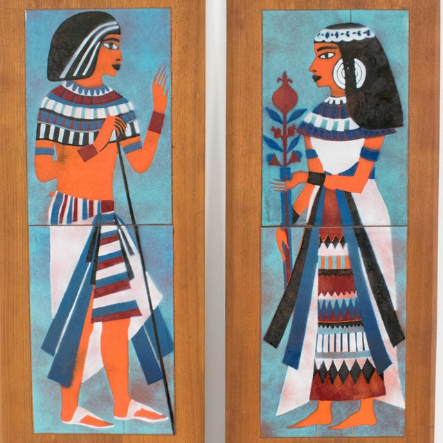 Judith Daner Midcentury Enamel on Copper Artwork Wall Panel Egyptians, a Pair For Sale - Image 13 of 13