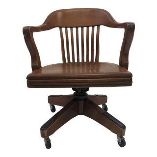 Vintage Industrial Wood Swivel Desk Chair For Sale