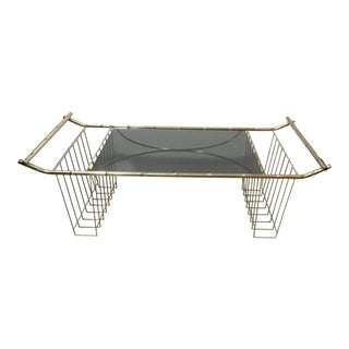 Vintage Mid-Century Faux Bamboo Brass Bed Tray Magazine Rack For Sale