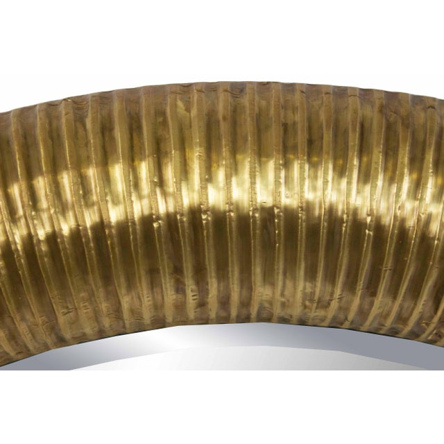 2000 - 2009 Round Gold-foiled Ribbed Mirror For Sale - Image 5 of 6