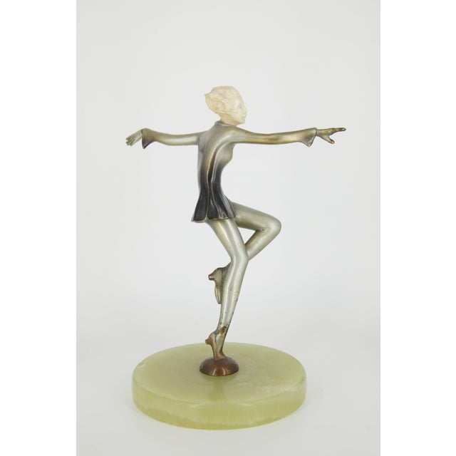 Art Deco Cold-Painted Silvered Dancer Sculpture For Sale In Los Angeles - Image 6 of 6